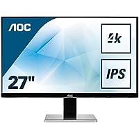 AOC U2777PQU 68,6 cm ( 27 Zoll) Monitor (IPS, DVI, HDMI, DisplayPort, USB, 3840 x 2160, 60 Hz, 4 ms, Pivot, UHD) silber