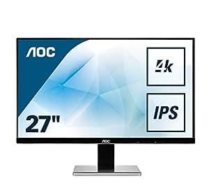 AOC U2777PQU 68,6 cm ( 27 Zoll) Monitor (IPS, DVI, HDMI, DisplayPort, IPS Panel, USB, 3840 x 2160, 60 Hz, 4 ms, Pivot, UHD) silber