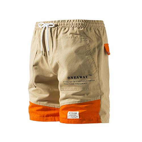 MOTOCO Herren Cargo Shorts Lässige Sports Shorts Solide Camo Shorts Seitentasche Knopfverschluss Cargohosen tragen KleidungHerren Cargosommershorts Combat Pants(4XL,Khaki-1) -