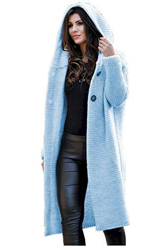 Lsecret  Damen Strickjacke Mantel Wolle Mohair 36 38 40 (Hellblau)
