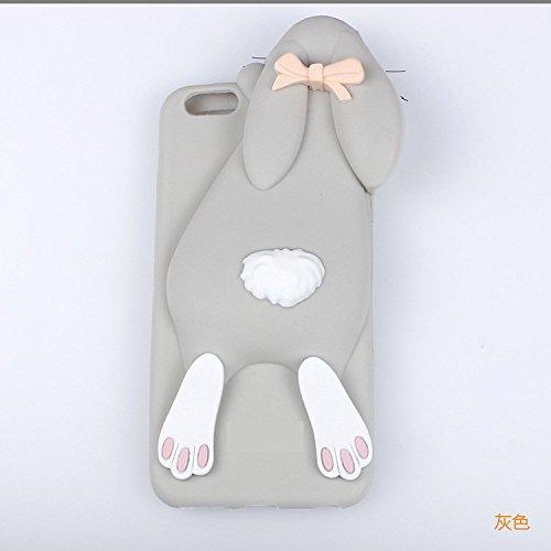 Coque Pour iPhone 6 Plus/6s Plus, iNenk® TPU doux cas Papa lapin Mobile Shell dessin animé mignon lapin animaux téléphone couverture manchon protecteur pour fille-marron Gris