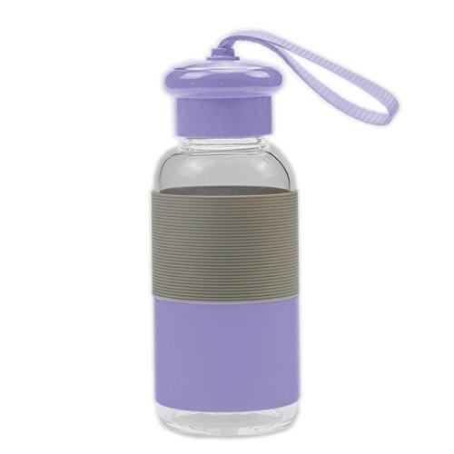Vetro bottiglia di acqua bere bicchiere d'acqua Coppa bollitore di acqua portatile di vetro con la corda (viola)