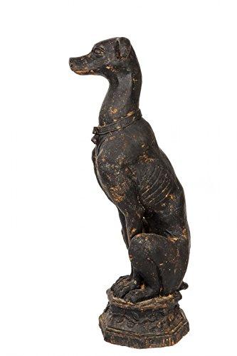 Skulptur Windhund auf Sockel Eisen Figur 30kg Garten sculpture iron greyhound -