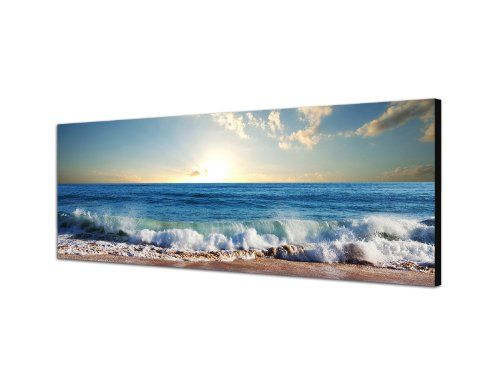 Keilrahmenbild Wandbild 150x50cm Meer Strand Wellen Sonnenuntergang Wolken