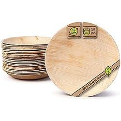 BIOZOYG Platos de Hojas de Palma I 25 Piezas de ojas de Palma Redondo Ø 15 cm I Bio vajilla desechable Boda compostable Biodegradable Vajilla de Fiesta