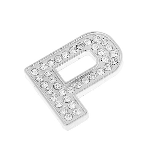 Amogha P : 35mm 3D Metal Rhinestone Figure Alphabet Letter & Number DIY Car Decorative Emblem Badge Stickers - Silver, P