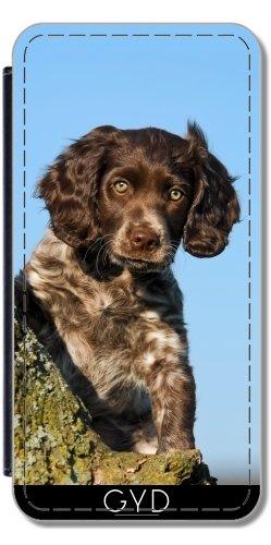 Leder Flip Case Tasche Hülle für Huawei P8 Lite (ALE-L21) - Niedlich Deutsch Spaniel Hundewelpe by Katho Menden