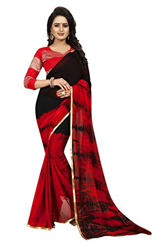 Harikrishnavilla Women's Chiffon Saree With Blouse Piece (Ao-Sprinkle Red_Red6)