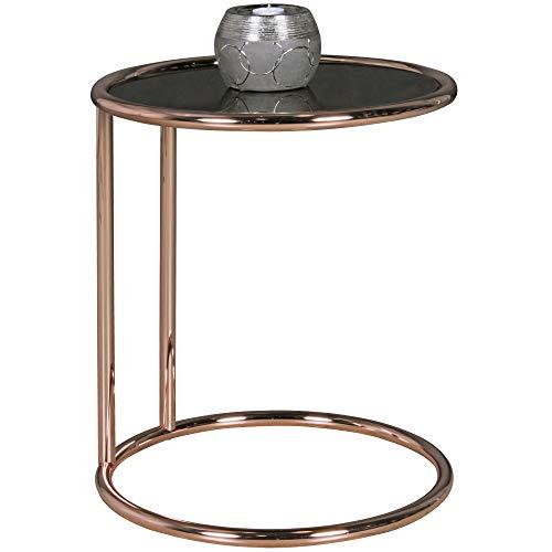 FineBuy Design Couchtisch Plate ø 45 cm Rund Glas Kupfer | Lounge Beistelltisch verspiegelt | Moderner Wohnzimmertisch | Glastisch Sofatisch Tisch für Wohnzimmer -