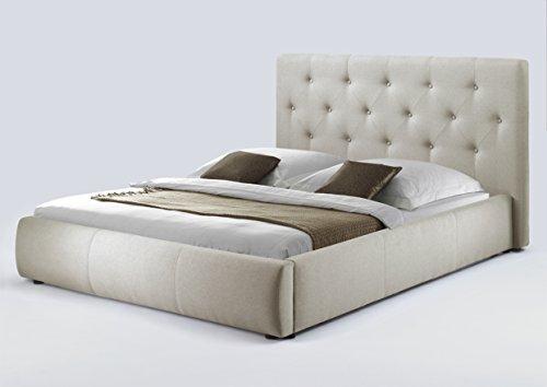 CAVADORE Bett CLARISSA 160x200 / mit Funktion / Webstoff / Beige / B 188, H 103, T 225 cm