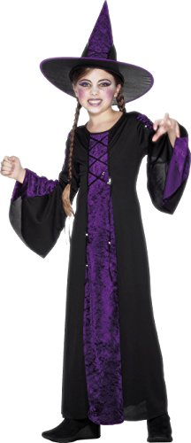 Hexe Elegante Kostüme Kind (Smiffys Kinder Verzaubert Kostüm, Kleid und Hut, Größe: L,)