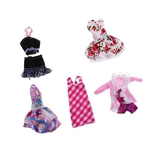 Sharplace 5 Set gemischte Modische Ballkleid Abendkleid Kleidung Kleider Anzug Outfit für Monster High (High Kleidung Monster Puppe)