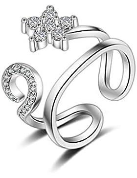 Shawa Ringe Öffnung Verstellbar 925er Sterling Silber mit Zirkonia Blütenblatt-Fragezeichen für Partnerschaftsringe...