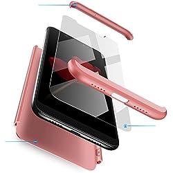 Compatible Samsung Galaxy S6 Edge Coque,360 degrés Mince Tout Inclus 3 dans 1 boîtier Cover,Anti Rayure Antichoc Résistant PC Dur Case+Film de Verre trempé,pour Galaxy S6 Edge-Or Rose
