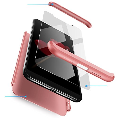 Compatible Funda Xiaomi Redmi 5 Plus Carcasa[2 Vidrio Templado] 360 Grados protección Caja Ultra Delgado Duro PC 3 en 1 Anti-Golpes Anti-Arañazos Case Cover para Redmi Note5-Oro Rosa