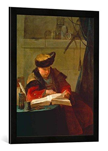 Gerahmtes Bild von Jean-Baptiste Simeon Chardin Chemiker in seinem Labor, Kunstdruck im hochwertigen handgefertigten Bilder-Rahmen, 50x70 cm, Schwarz matt -