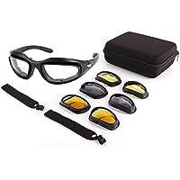 Lunettes de Moto - Lunettes de Protection UV avec 4 Lentilles Interchangeables pour Moto Vélo Escalade Ski