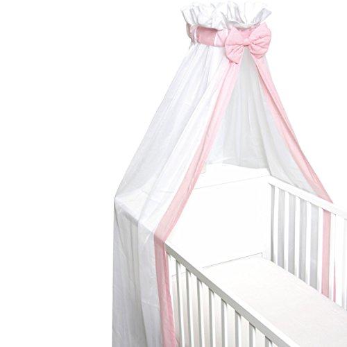 Babybett Schleier/Betthimmel (Mit Schleife) Für Babybetten 60 x 120 cm / 70 x 140 cm (ROSA) -