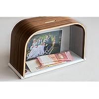 Preisvergleich für Spardose aus Holz, personalisierbar, Spardose, Holz Geld Bank, Geldkassette, Spardose, Einsparung Box mit wechselnder Bilder, Hochzeit Fonds,, Box Wallnut
