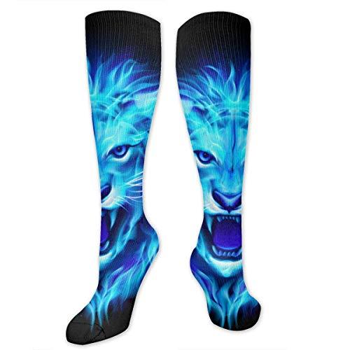 NFHRREEUR Men Women Knee High Socks Cool Blue Lion Compression Socks Sports Athletic Socks Tube Stockings Long Socks Funny Personalized Gift ()