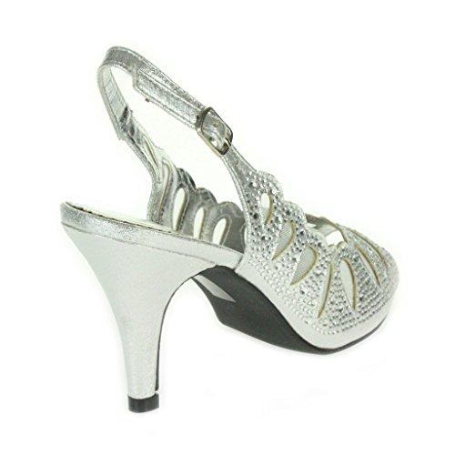 Frau Damen Laser Schnitt Diamante Peep Toe Mittlere Absatz Abend Hochzeit Party Prom Sandalen Schuhe Größe Silber.
