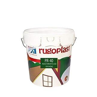 Rugoplast – Pintura alta calidad de exteriores blanca revestimiento liso ideal para decorar las paredes exteriores de tu casa