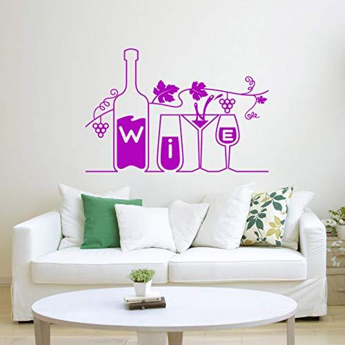 (wuyyii 57x38 cm Wein Vinyl Aufkleber Drink Bar Restaurant Küche Trauben WandaufkleberC)