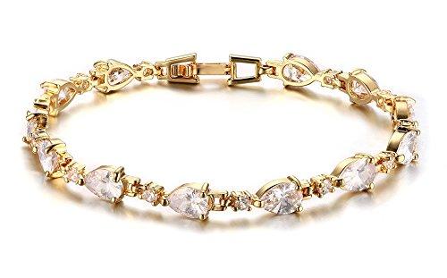 Vnox da donna lusso sworavski elemento a goccia CZ diamante Bracciale Tennis Oro Giallo Placcato 18cm