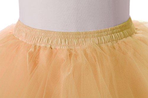 Poplarboy Damen Kurz 50er Vintage Petticoat Reifrock Mehrfarbengroß Unterröcke Braut Crinoline Ballett Blase Tutu Ball Kleid Underskirt Orange