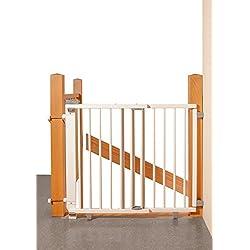 Geuther - Schwenk- Treppenschutzgitter 2735+, für Kinder, Hunde und Katzen, Made in Germany, Befestigung mit Schrauben/Klemmen am Geländer, verstellbar, Holz, weiß, 95 - 135 cm