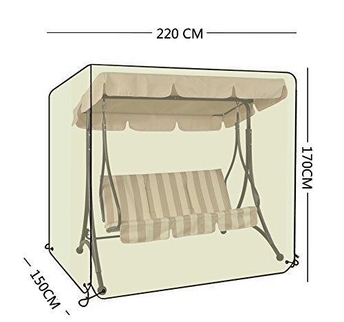 OOFIT Schutzhülle für 3-Sitzer Hollywoodschaukel, aus 600D Oxford,mit Reißverschlüssen, 220cm L x 170cm H x 150cm W,Grau