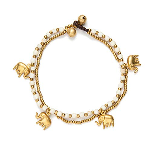 JLDMAI Zwei Schichten Gold Elephant Charm Green Perlen Fußkettchen für Frauen Beach Fashion Handmade Fußkettchen Kette zu Fuß