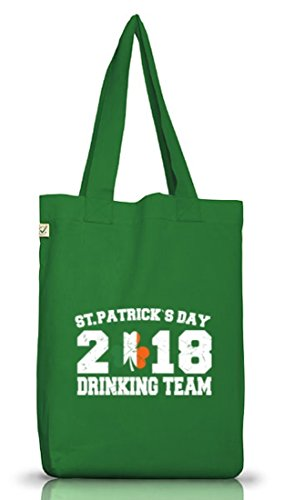 Irland St. Patrick's Day Jutebeutel Stoffbeutel Earth Positive St. Patrick Drinking Team 2018 Moss Green
