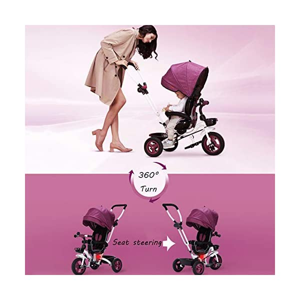 4 In 1 Childrens Folding Tricycle 360° Swivelling Saddle 6 Months To 5 Years 3-Point Safety Belt Kids Tricycle Comfortable And Adjustable Backrest Child Trike Maximum Weight 25 Kg,Pink BGHKFF ★Material: Steel frame, suitable for children from 6 months to 5 years old, the maximum weight is 25 kg ★ 4 in 1 multi-function: can be converted into baby strollers and tricycles. Remove the hand putter and awning, and the guardrail as a tricycle. ★Safety design: Golden triangle structure, safe and stable; front wheel clutch, will not hit the baby's foot; 3 point seat belt + guardrail; rear wheel double brake 3