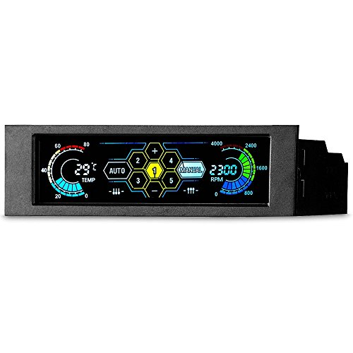 """KKmoon Sunshine-tipway STW Lüftersteuerung 5,25\""""5 Kanal Touchscreen Temperaturüberwachung Automatische Geschwindigkeitskontrolle LCD-Frontplatte für Computerlüfter"""