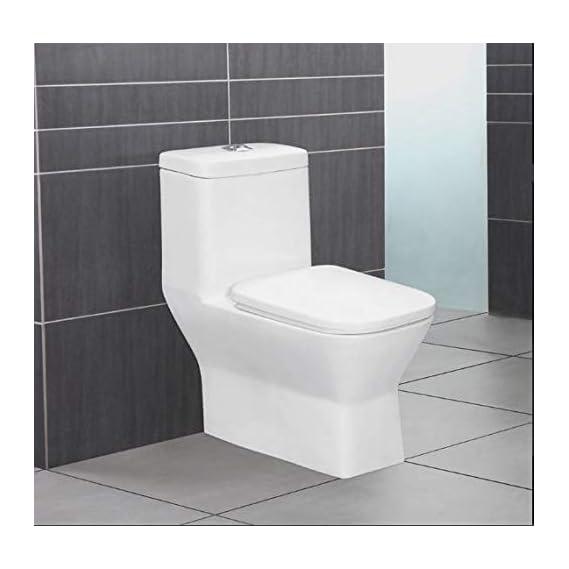Ceramic Floor Mounted One Piece Square S Trap Ceramic Water Closet (Standard, White)