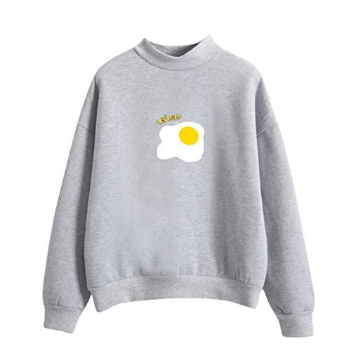 Feminine Denim Shirt Jacke (Malloom-Bekleidung Frauen O-Ansatz Normallack Poschiertes Ei Muster Lange Hülse Plus Samt Sweatshirt Lässige Einfarbige Pochierte Ei Muster Langarm Pullover)