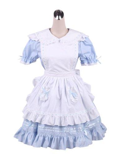 Antaina Blau Baumwolle Weiß Schürze Rüsche Flieges süß Maid Knielang Elegant Lolita Cosplay ()