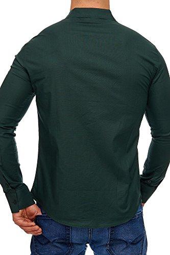 TAZZIO Herren Styler Langarm Hemd G-700 Khaki