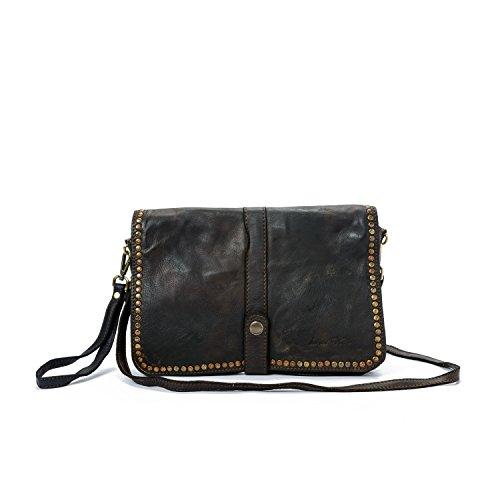 110/5000 Ira del Valle, Damen Tasche, Echtes Leder, Vintage, Frau Umhängetasche, Modell Charlotte Tasche, Made In Italy (Braun) (Kroko Furla)