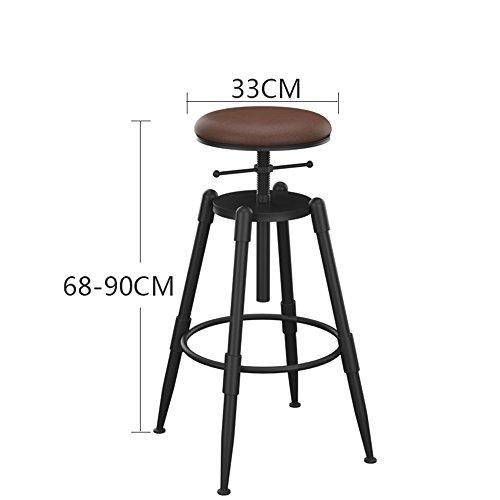 MEIDUO Durable Selles Bar Tabouret chaise Pinewood Hauteur réglable Pivot Style industriel pour intérieur extérieur (Couleur : B)