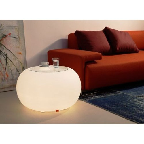 Moree Bubble Table Basse d'intérieur éclairée avec Plateau en Verre