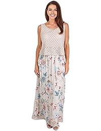 KRISP Damen Elegantes Sommerkleid Bodenlanges Strandkleid Rundhals Kleid