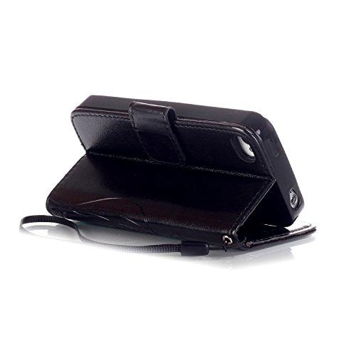 iphone 5 5S SE Custodia, Ekakashop Lusso Diamante Design Flip Folio PU Leather Book Wallet Custodia Tasca Chiusura Magnetica Stile del libro del Protettiva in Pelle Stand Cassa Case Cover per Apple ip Nero#1