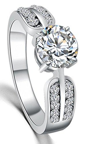 SaySure - Crystal Wedding Ring Platinum Plated Charm (SIZE : 9) (Wedding Platinum Ring Sets)