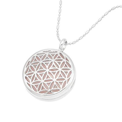 KYEYGWO Blume des Lebens Kristall Stein Anhänger Halskette können Medaillon Anhänger Heilung Reiki Glück Halskette, 50 cm