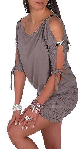 Glamour Empire Damen Tunik Top mit Armschlitz Mini-Kleid Schwarz Partykleid 157 (Cappuccino, EU 40/42, L) -