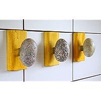 3 Stone Towel Hooks - Bathroom Hanger - Coat Rack with natural Beach Stones. Rock towel hangers. Coast Hook - Wall mounted clothes rack