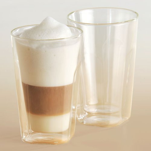 4-er Set Thermo Kaffeegläser eckig doppelwandig Latte Macciato 450 ml
