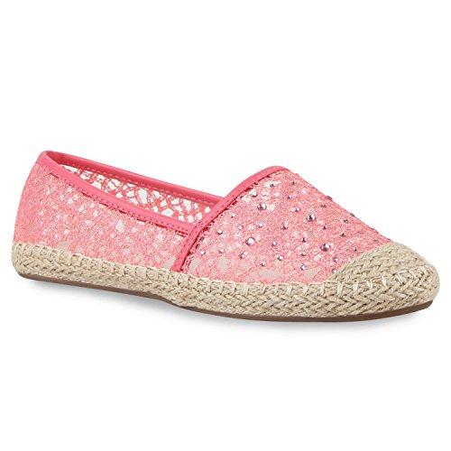 Damen Schuhe Lack Espadrilles Glitzer Slipper Flats Profilsohle 156207 Rosa Glitzer 39 Flandell Stiefelparadies HYLo3Y